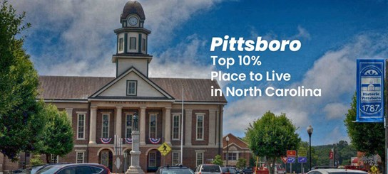 Pittsboro in Top 10% of Places to Live in NC